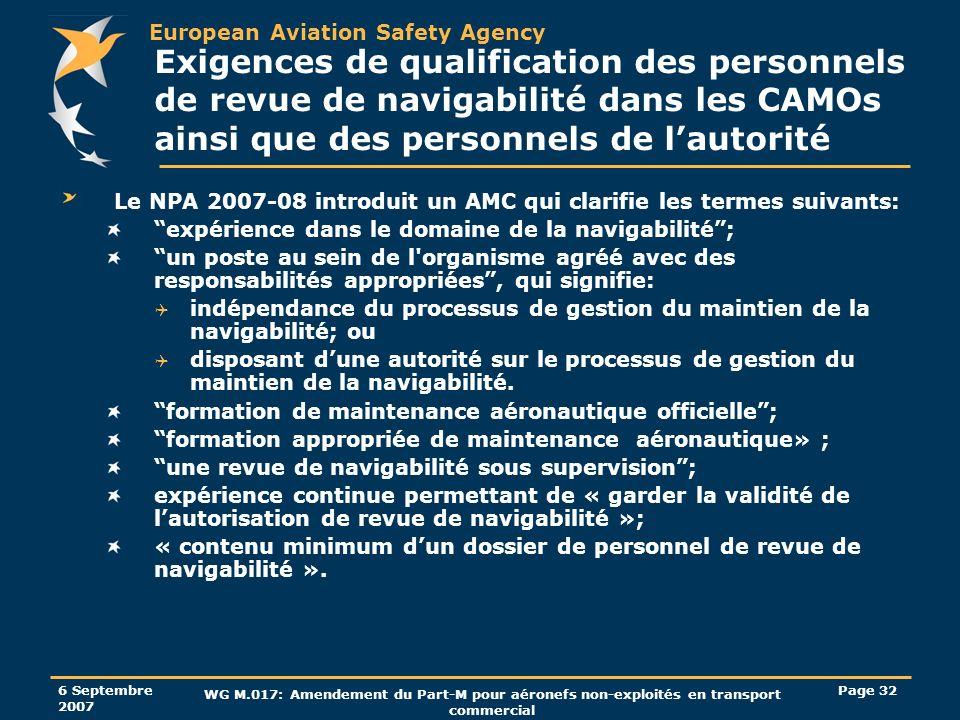 Exigences de qualification des personnels de revue de navigabilité dans les CAMOs ainsi que des personnels de l'autorité