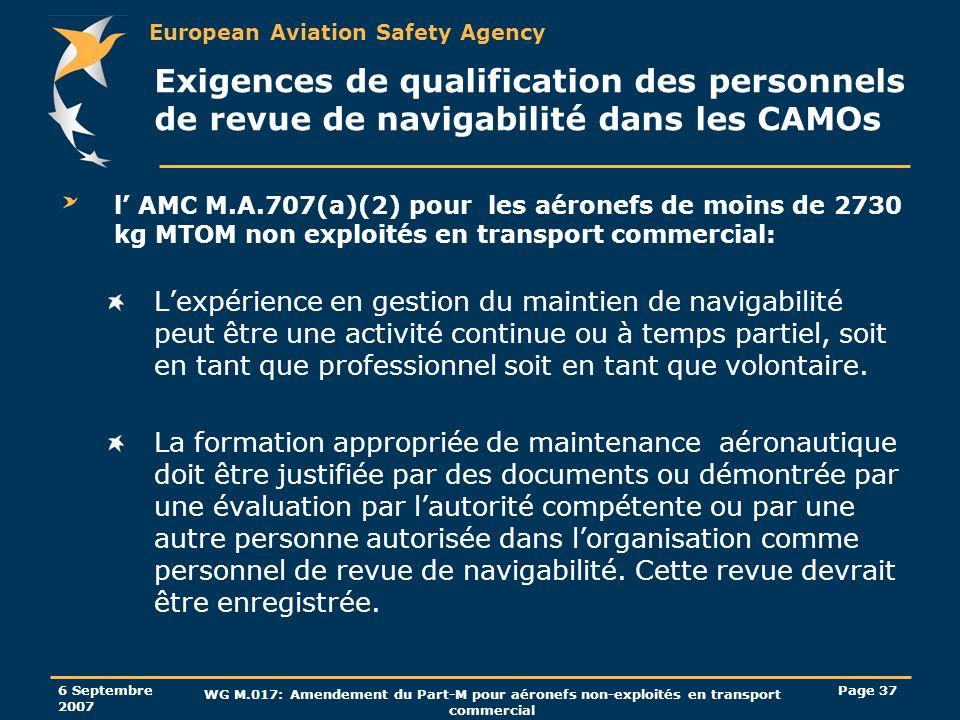 Exigences de qualification des personnels de revue de navigabilité dans les CAMOs