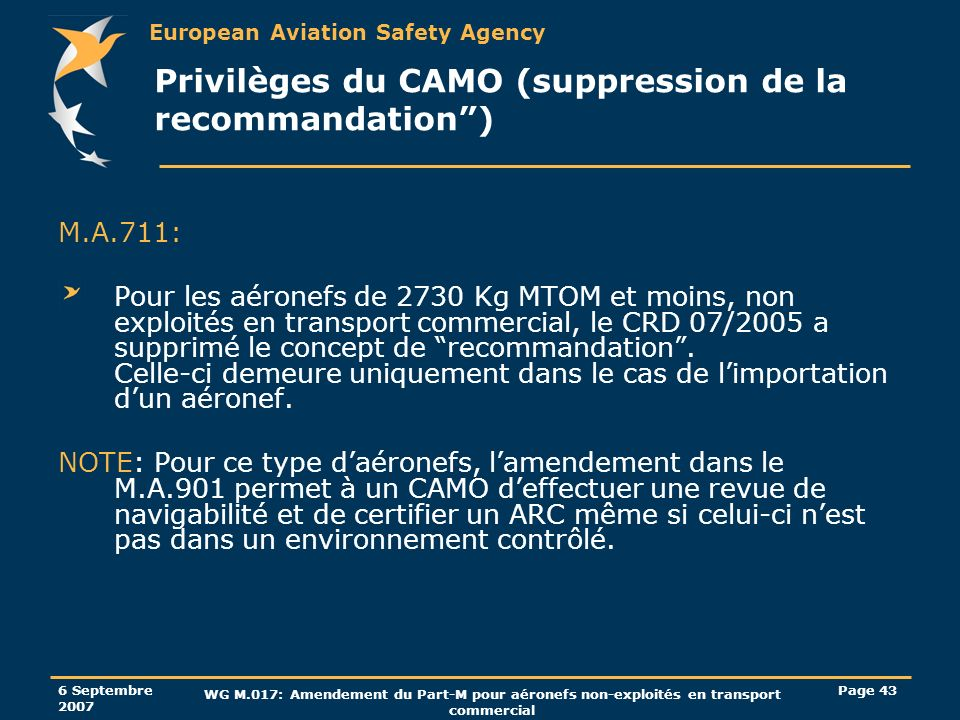 Privilèges du CAMO (suppression de la recommandation )
