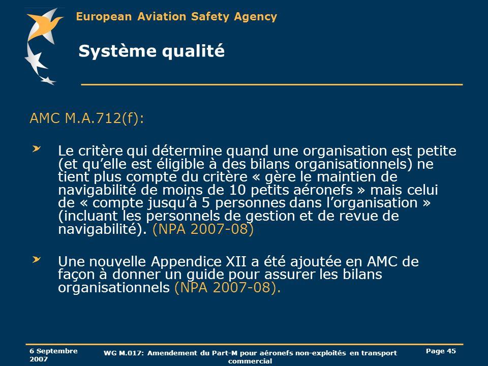 Système qualité AMC M.A.712(f):