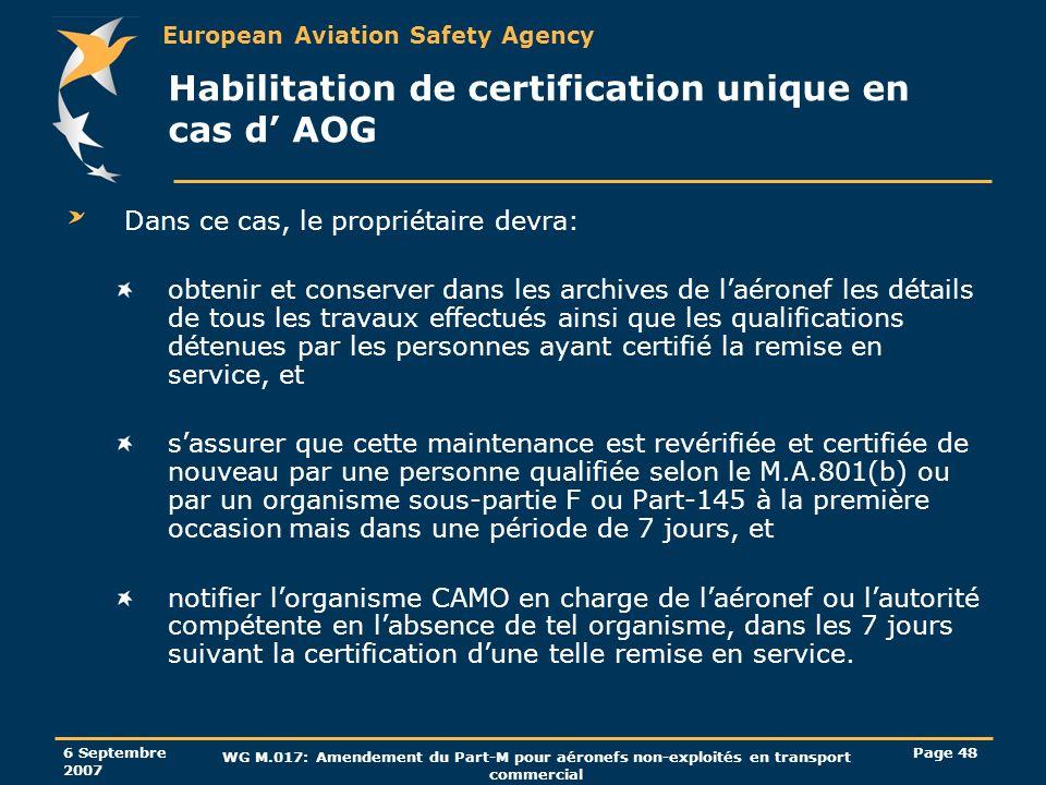 Habilitation de certification unique en cas d' AOG