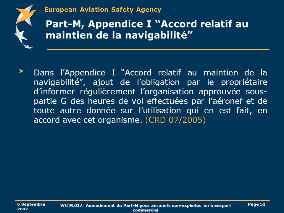 Part-M, Appendice I Accord relatif au maintien de la navigabilité