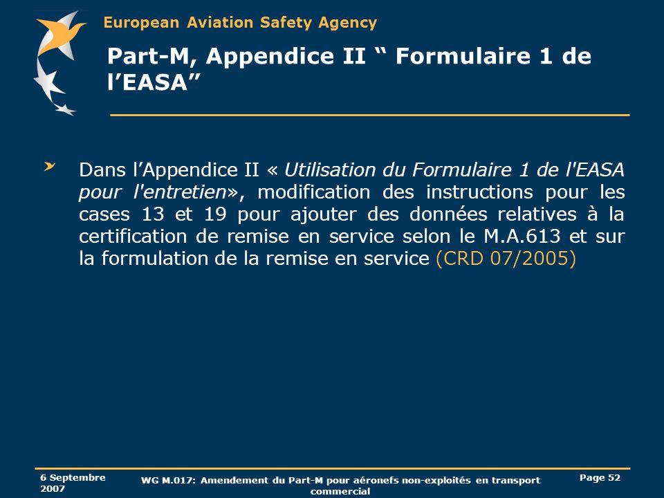 Part-M, Appendice II Formulaire 1 de l'EASA