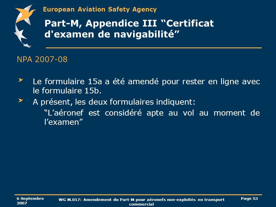Part-M, Appendice III Certificat d examen de navigabilité