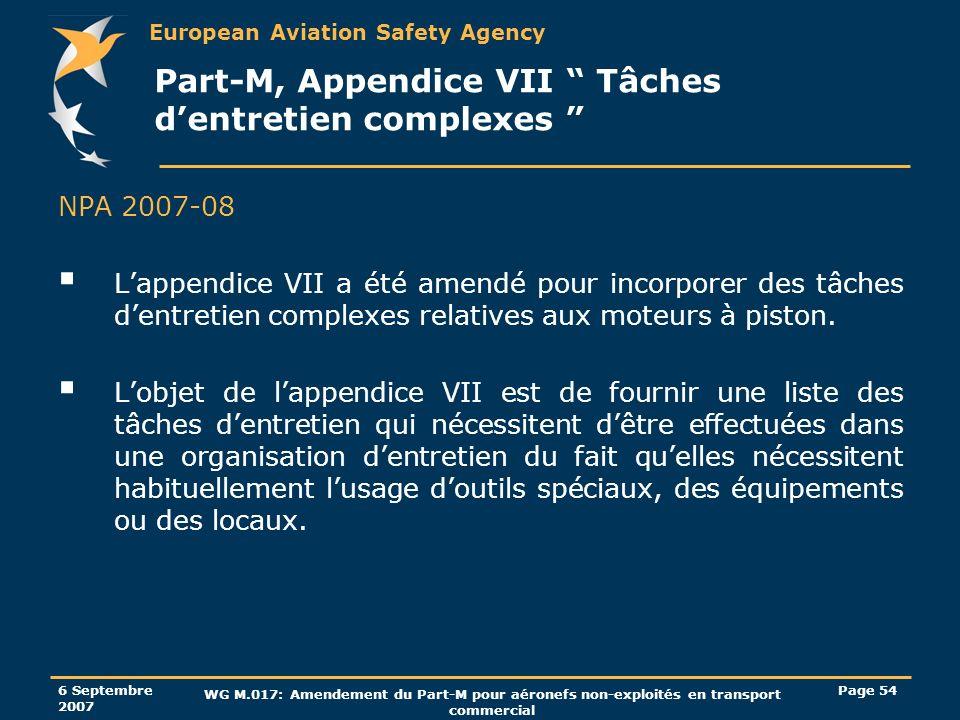 Part-M, Appendice VII Tâches d'entretien complexes