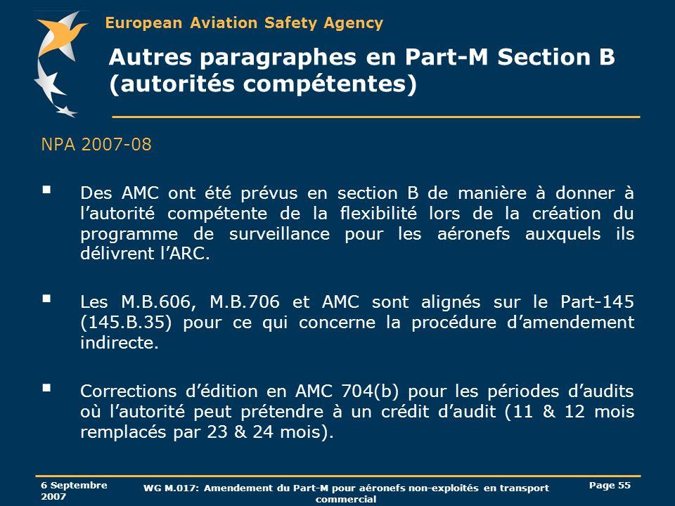 Autres paragraphes en Part-M Section B (autorités compétentes)