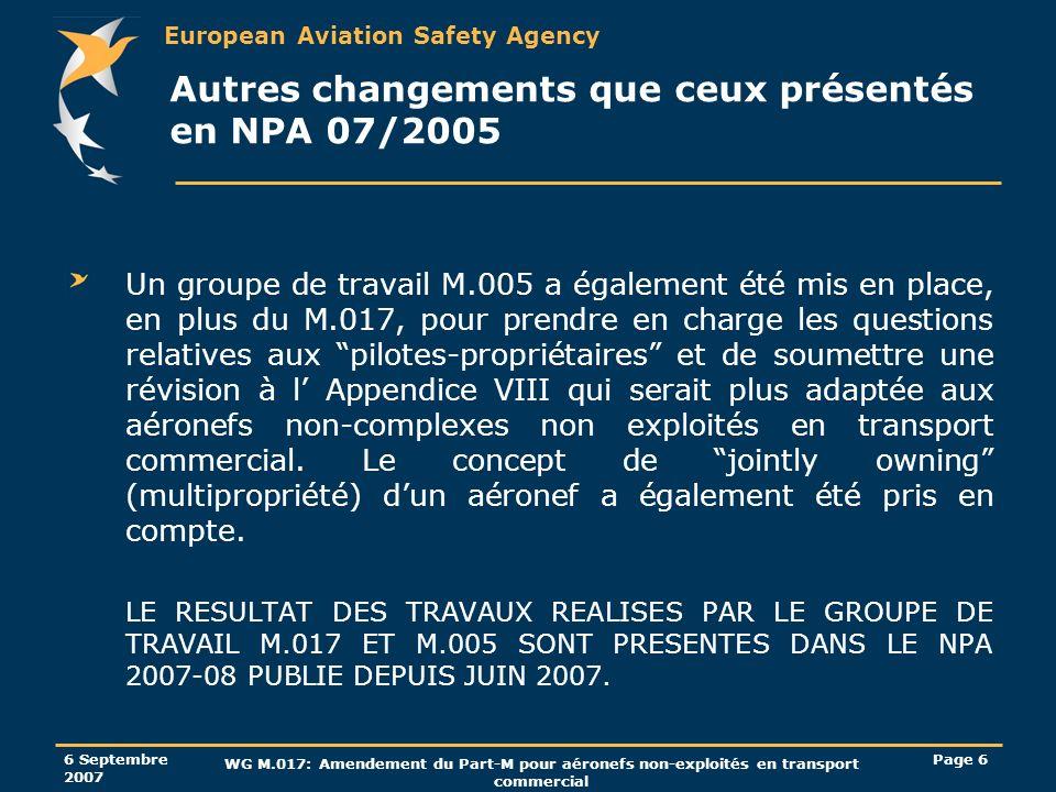 Autres changements que ceux présentés en NPA 07/2005