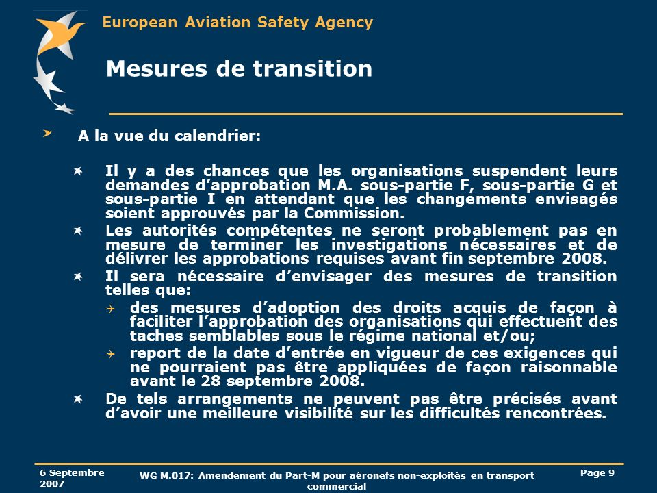 Mesures de transition A la vue du calendrier: