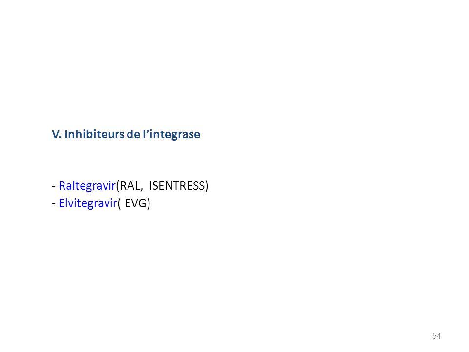 V. Inhibiteurs de l'integrase - Raltegravir(RAL, ISENTRESS) - Elvitegravir( EVG)