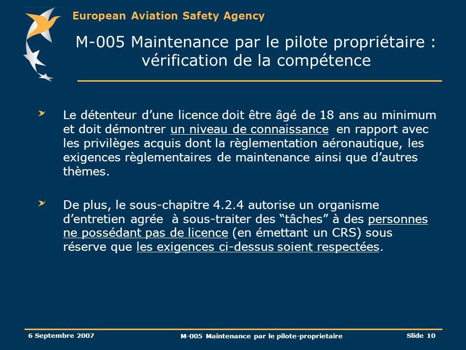M-005 Maintenance par le pilote-proprietaire