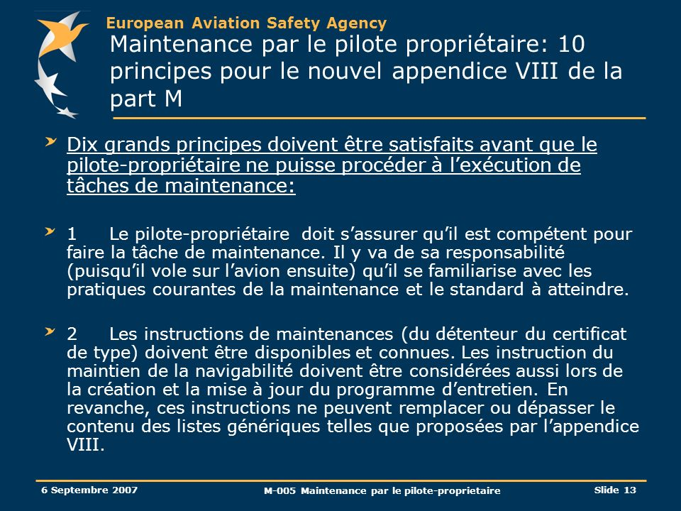 M-005 Maintenance par le pilote-proprietaire