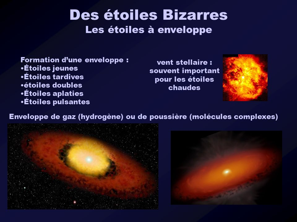 Des étoiles Bizarres Les étoiles à enveloppe