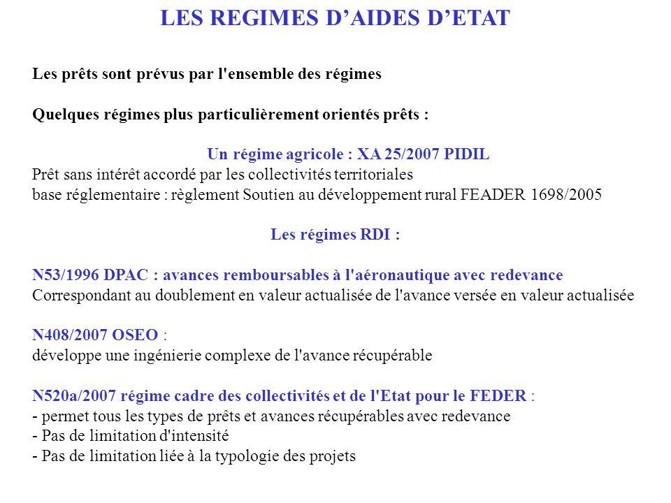 LES REGIMES D'AIDES D'ETAT Un régime agricole : XA 25/2007 PIDIL