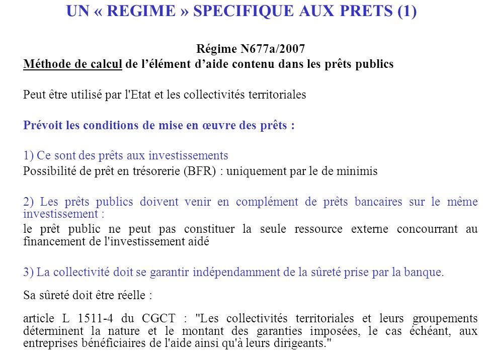 UN « REGIME » SPECIFIQUE AUX PRETS (1)