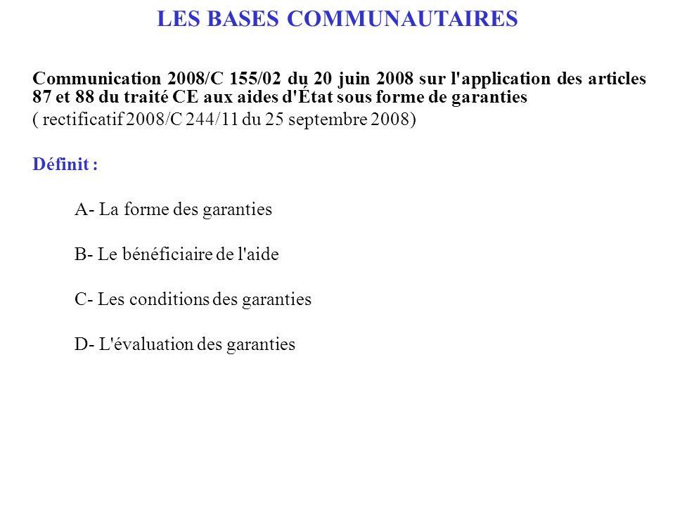 LES BASES COMMUNAUTAIRES