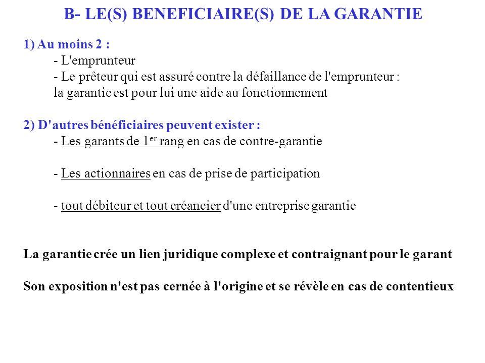 B- LE(S) BENEFICIAIRE(S) DE LA GARANTIE