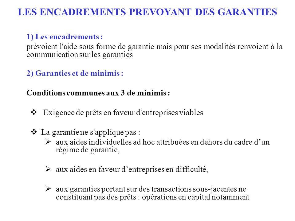 LES ENCADREMENTS PREVOYANT DES GARANTIES
