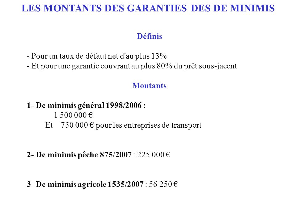 LES MONTANTS DES GARANTIES DES DE MINIMIS