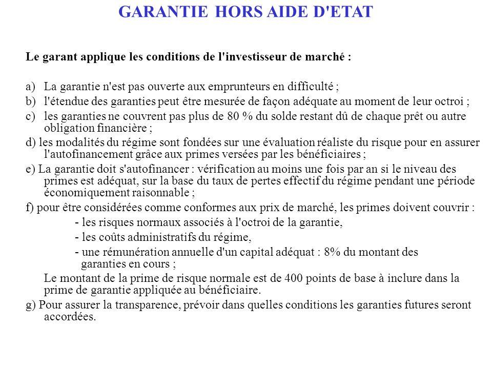 GARANTIE HORS AIDE D ETAT