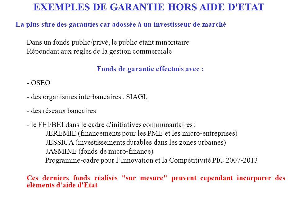 EXEMPLES DE GARANTIE HORS AIDE D ETAT