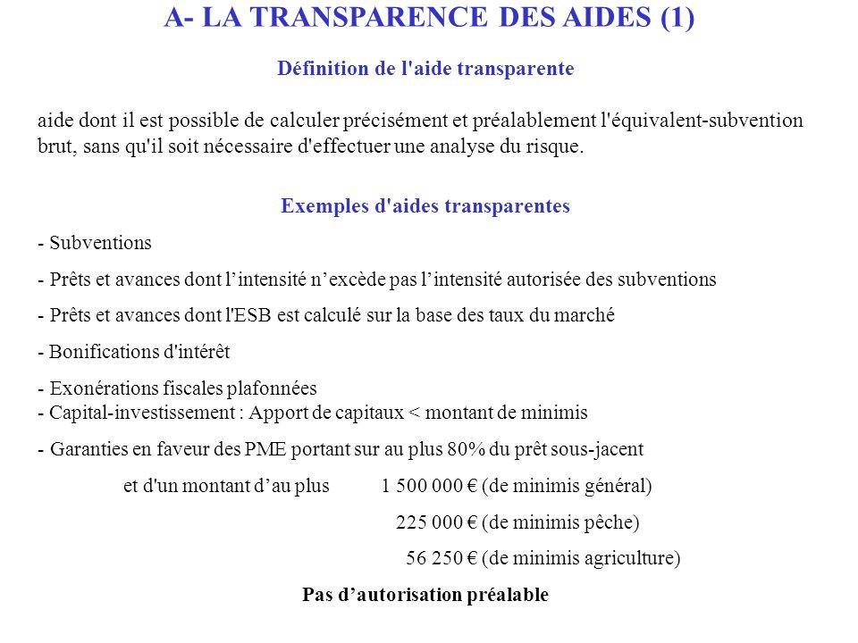 A- LA TRANSPARENCE DES AIDES (1)