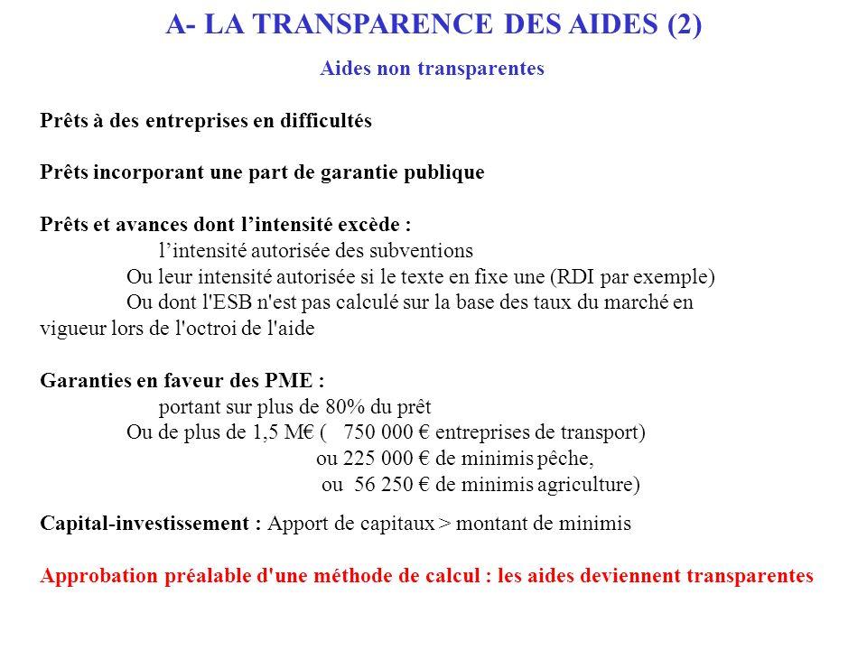 A- LA TRANSPARENCE DES AIDES (2) Aides non transparentes