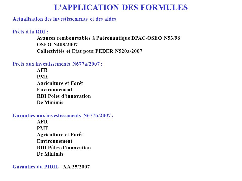 L'APPLICATION DES FORMULES