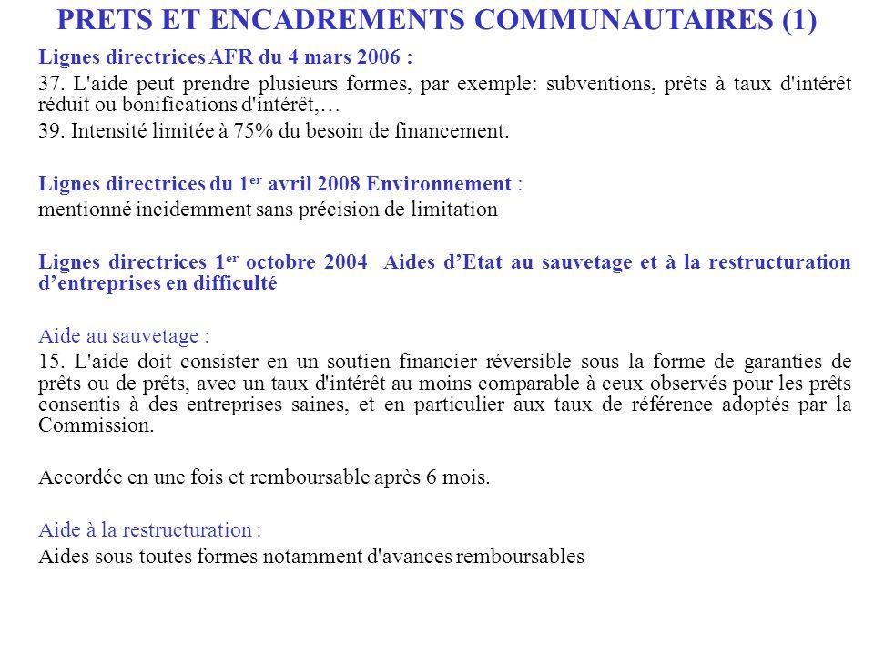PRETS ET ENCADREMENTS COMMUNAUTAIRES (1)