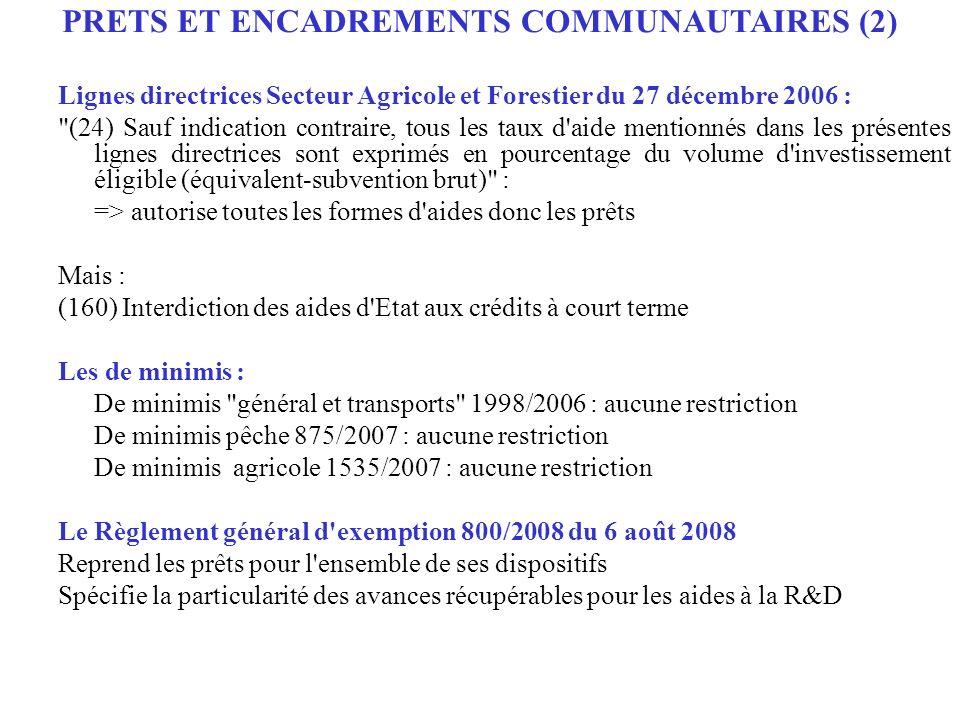 PRETS ET ENCADREMENTS COMMUNAUTAIRES (2)