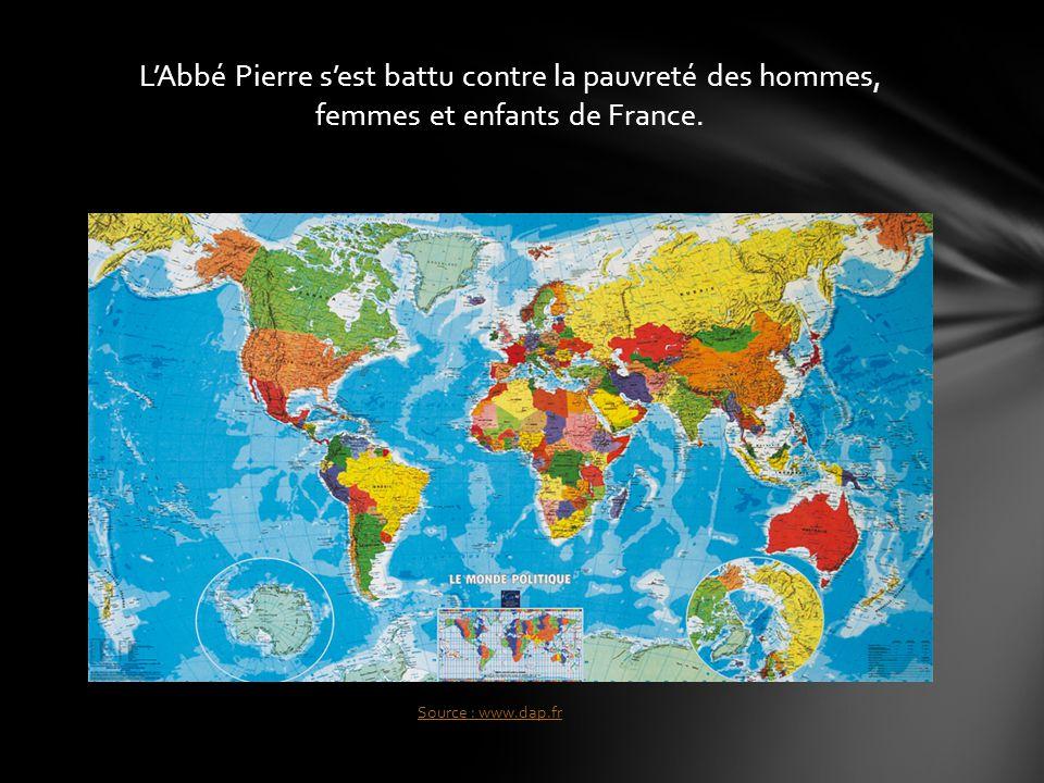 L'Abbé Pierre s'est battu contre la pauvreté des hommes, femmes et enfants de France.