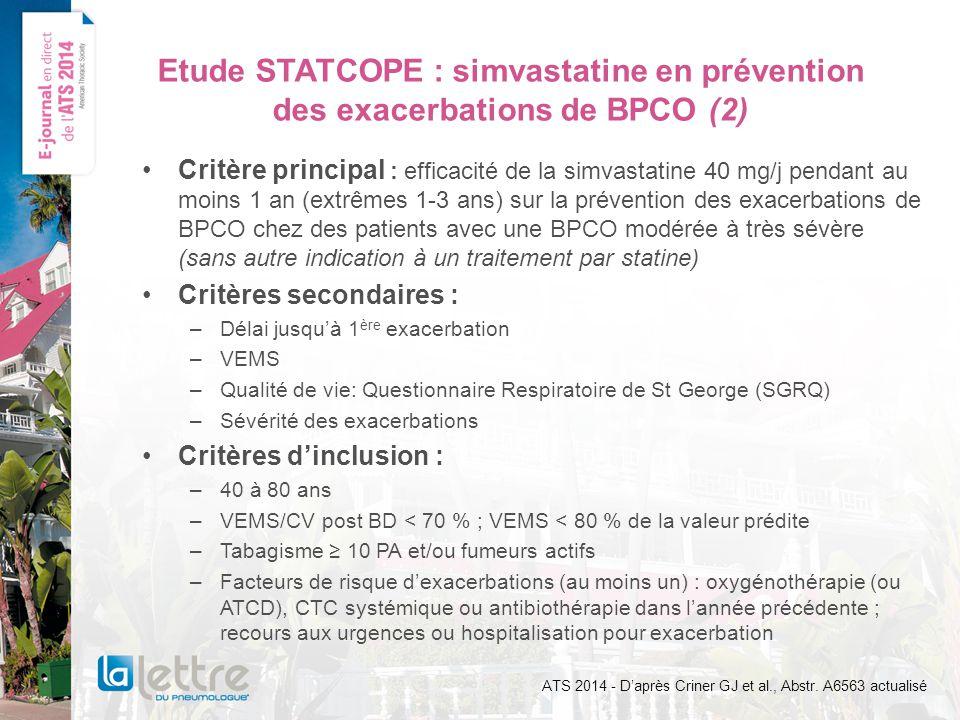 Etude STATCOPE : simvastatine en prévention des exacerbations de BPCO (2)