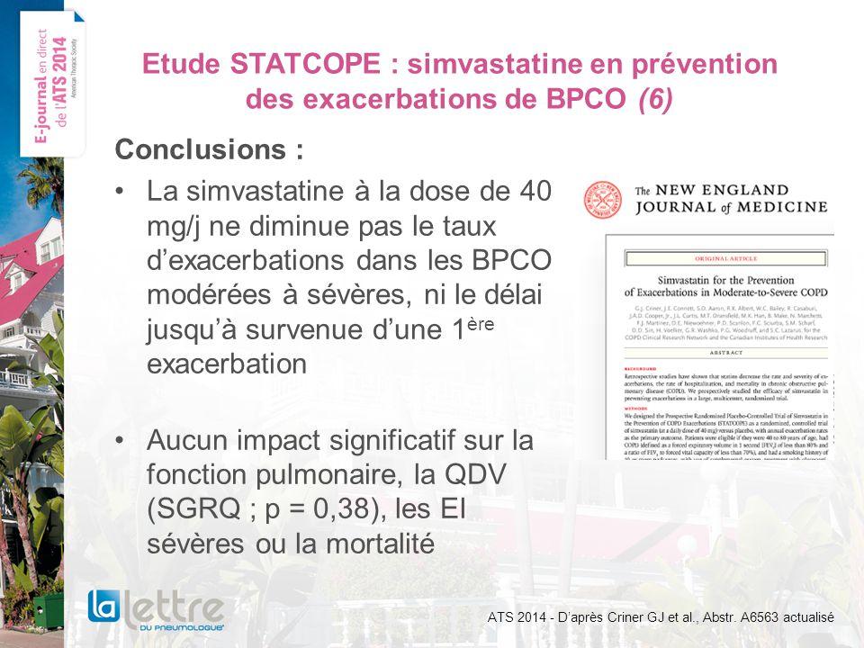 Etude STATCOPE : simvastatine en prévention des exacerbations de BPCO (6)