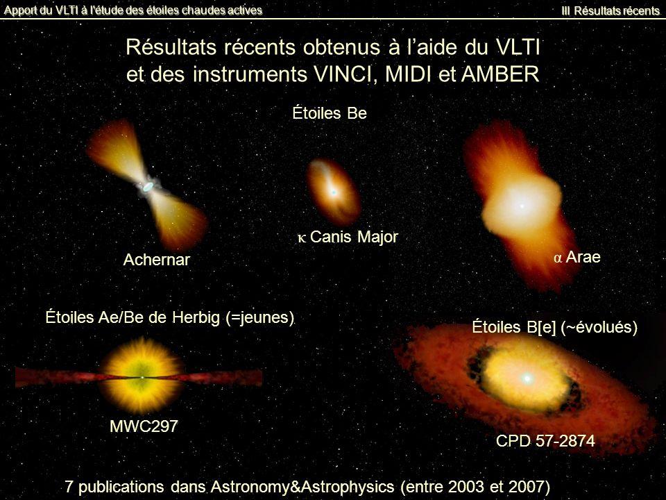 Résultats récents obtenus à l'aide du VLTI
