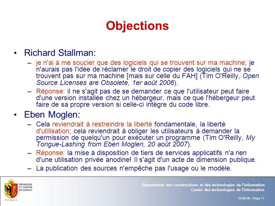 Objections Richard Stallman: Eben Moglen: