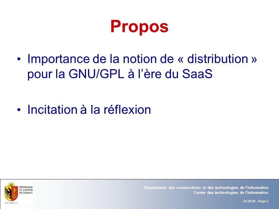 Propos Importance de la notion de « distribution » pour la GNU/GPL à l'ère du SaaS.