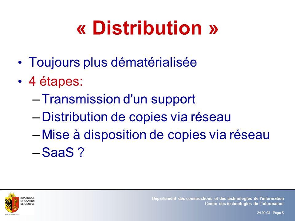 « Distribution » Toujours plus dématérialisée 4 étapes:
