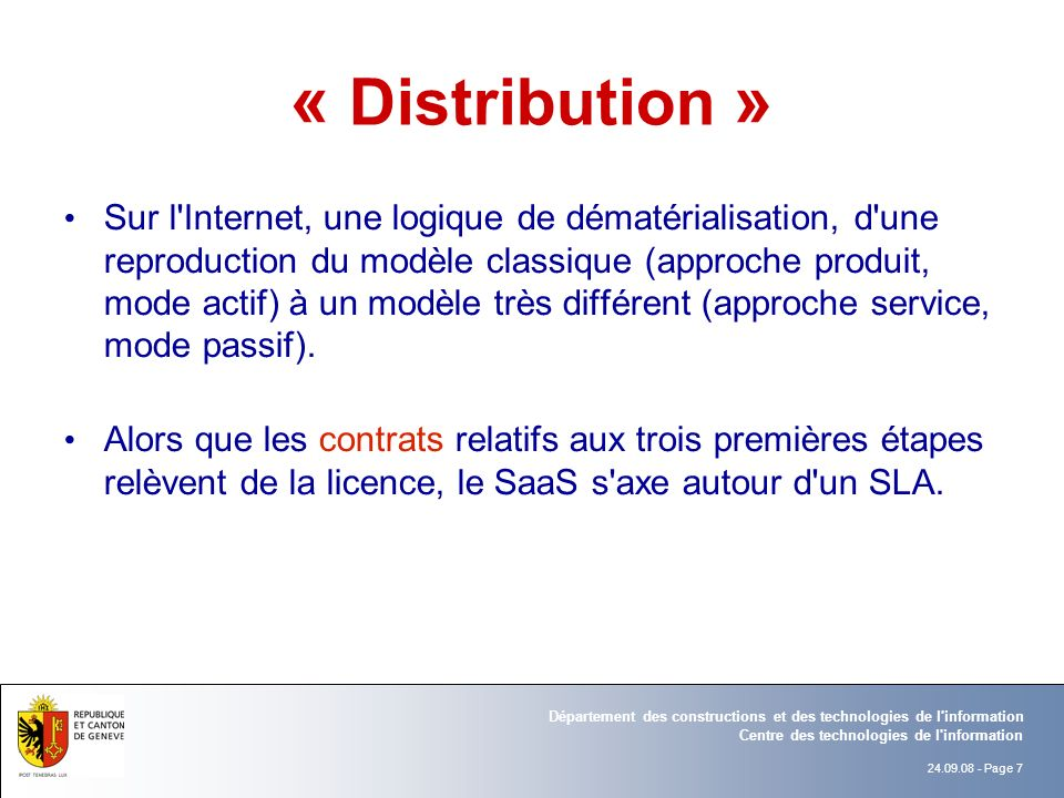 « Distribution »
