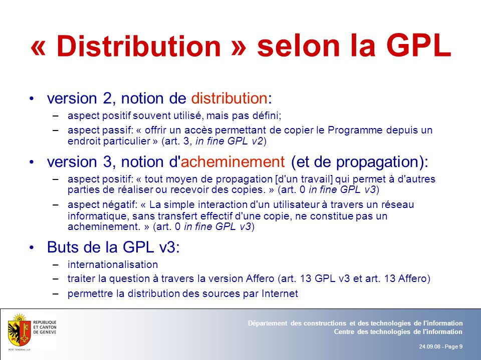 « Distribution » selon la GPL