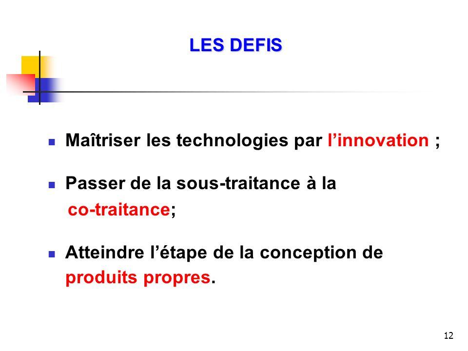 LES DEFIS Maîtriser les technologies par l'innovation ; Passer de la sous-traitance à la. co-traitance;