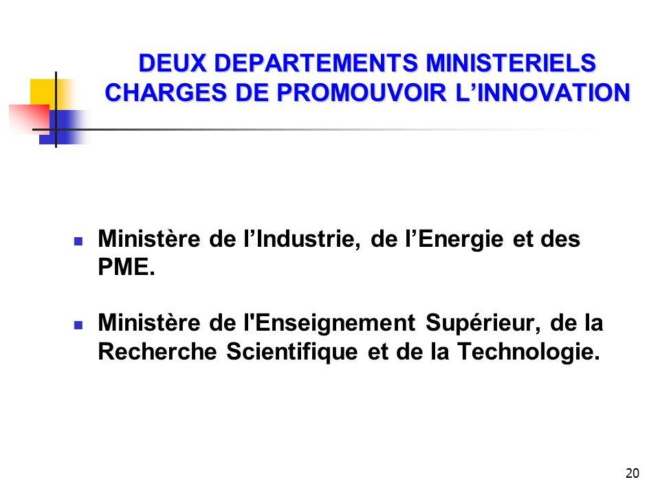 DEUX DEPARTEMENTS MINISTERIELS CHARGES DE PROMOUVOIR L'INNOVATION