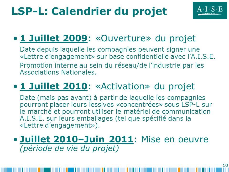 LSP-L: Calendrier du projet