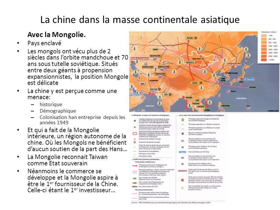 La chine dans la masse continentale asiatique