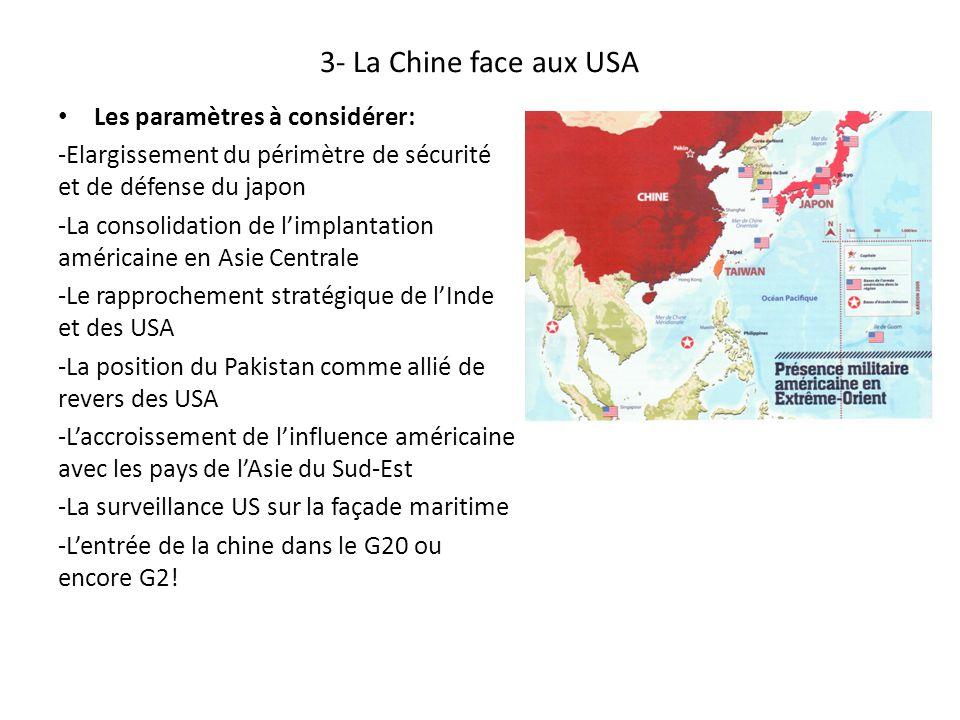 3- La Chine face aux USA Les paramètres à considérer: