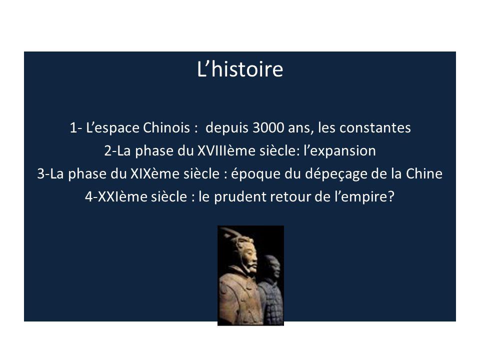 L'histoire 1- L'espace Chinois : depuis 3000 ans, les constantes