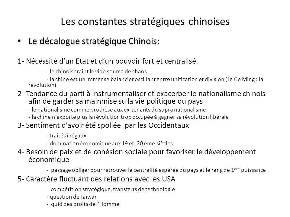 Les constantes stratégiques chinoises