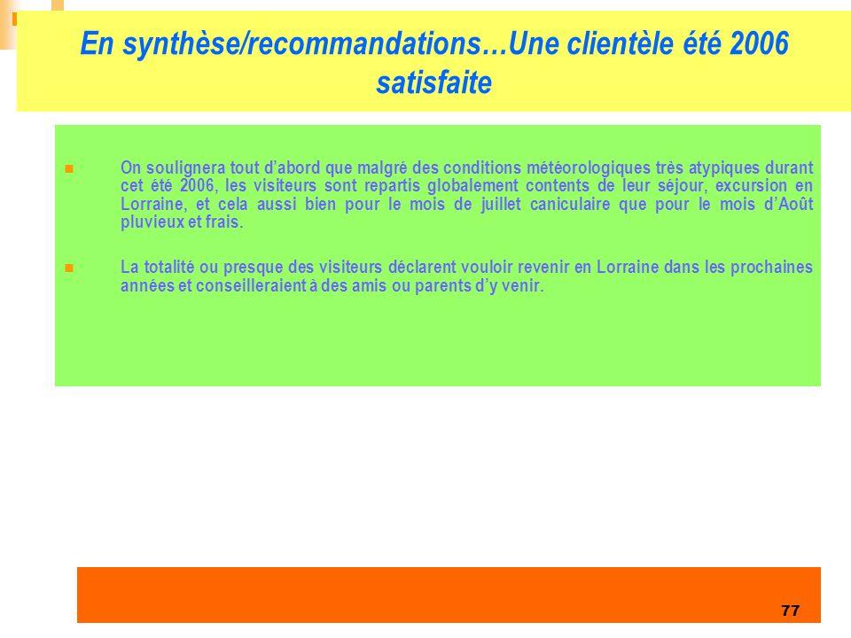 En synthèse/recommandations…Une clientèle été 2006 satisfaite
