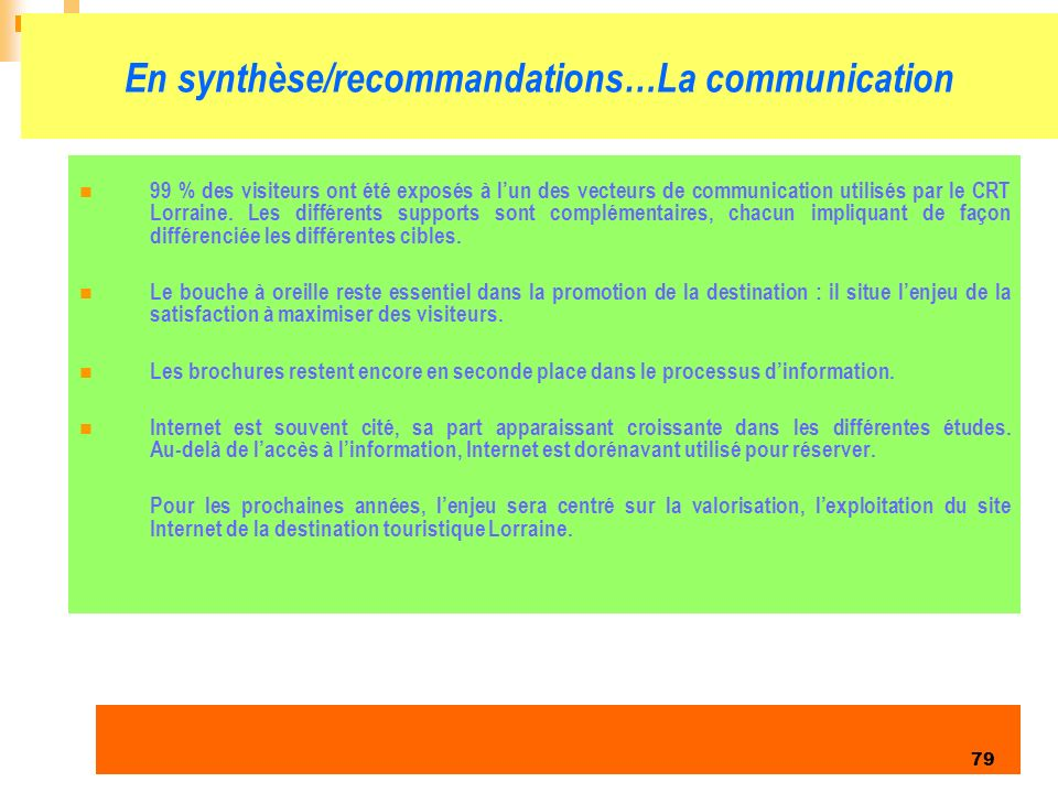En synthèse/recommandations…La communication