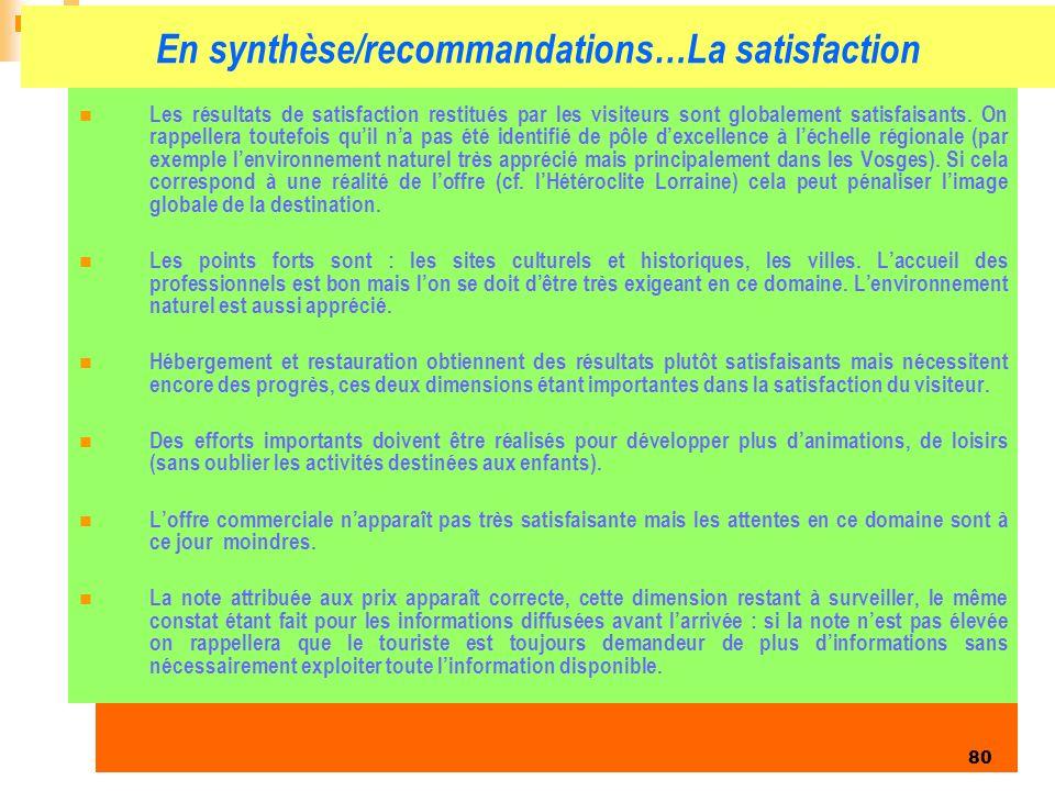 En synthèse/recommandations…La satisfaction