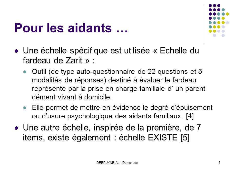 Pour les aidants … Une échelle spécifique est utilisée « Echelle du fardeau de Zarit » :