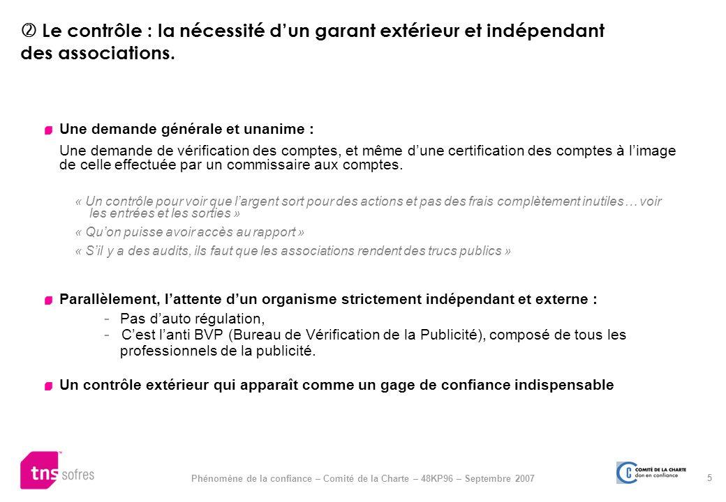  Le contrôle : la nécessité d'un garant extérieur et indépendant des associations.